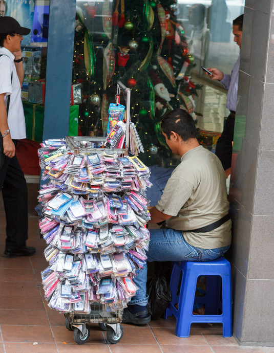 Vendor of cell phone covers. Guayaquil.
